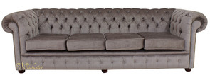 Chesterfield 4 Seater Settee Perla Illusions Grey Velvet Fabric Sofa Offer