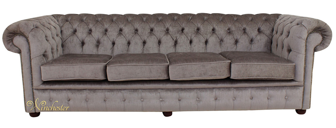 Chesterfield 4 Seater Perla Illusions Grey Velvet Sofa Settee Wc