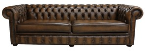 Chesterfield 4 Seater Settee Antique Tan Leather Sofa Offer