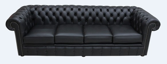 Chesterfield 4 Seater Settee Black Leather Sofa Offer