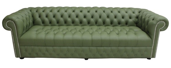 Chesterfield 4 Seater Settee Buttoned Seat Shelly Mountain Tree Green Leather Sofa Offer