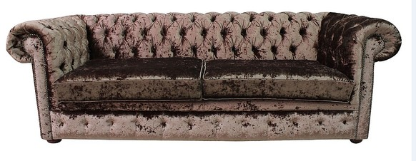 Chesterfield 4 Seater Settee Senso Chocolate Brown Velvet Fabric Sofa Offer