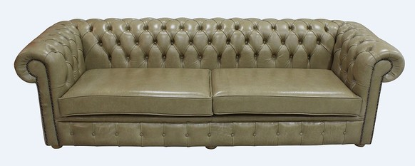 Chesterfield 4 Seater Settee Sofa Old English Parchment Leather