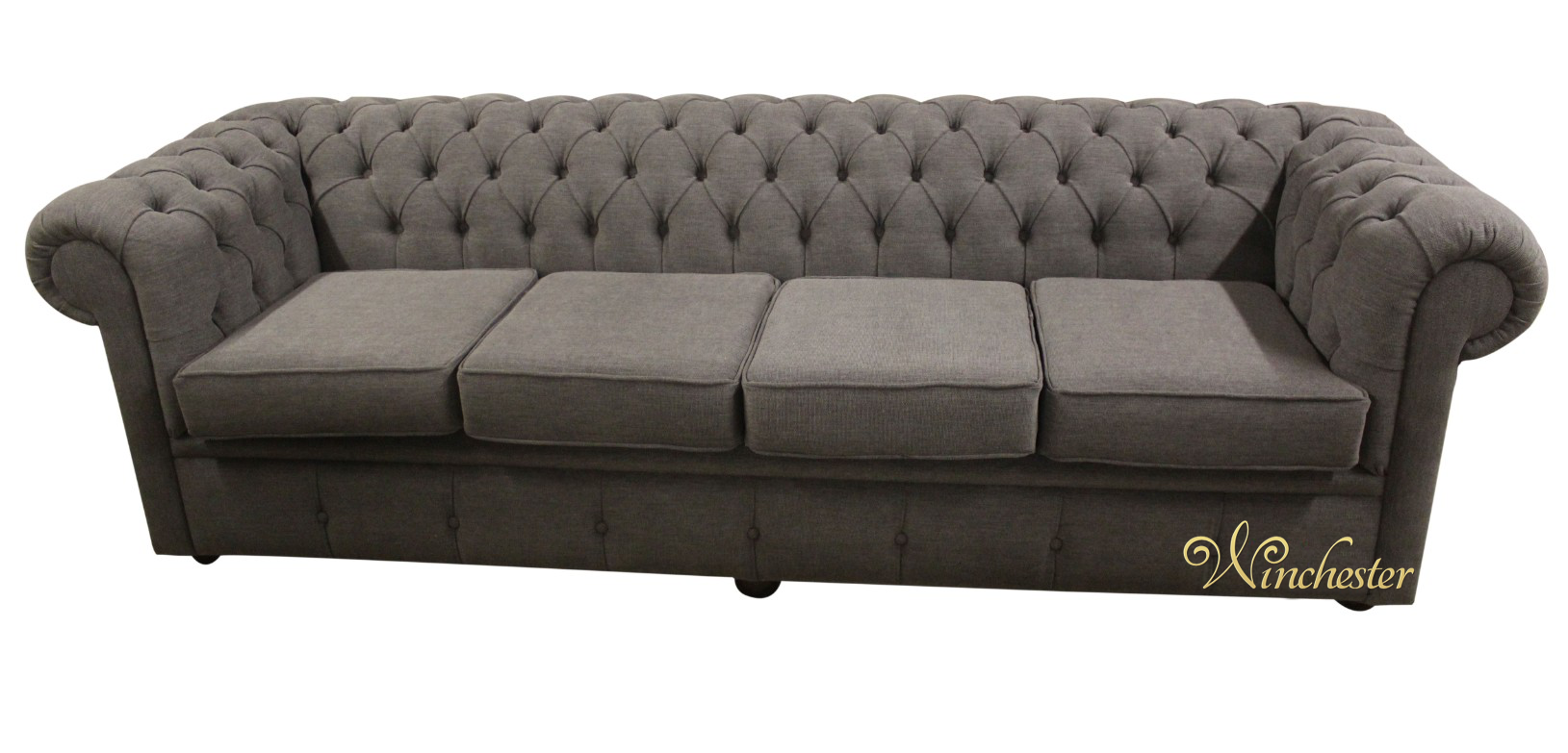 chesterfield 4 seater settee verity steel grey fabric. Black Bedroom Furniture Sets. Home Design Ideas