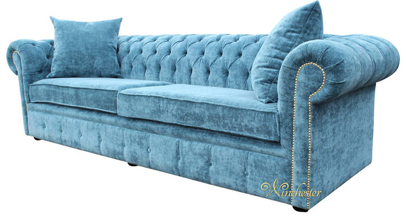 Chesterfield 4 Seater Settee Elegance Teal Velvet Fabric Sofa Offer