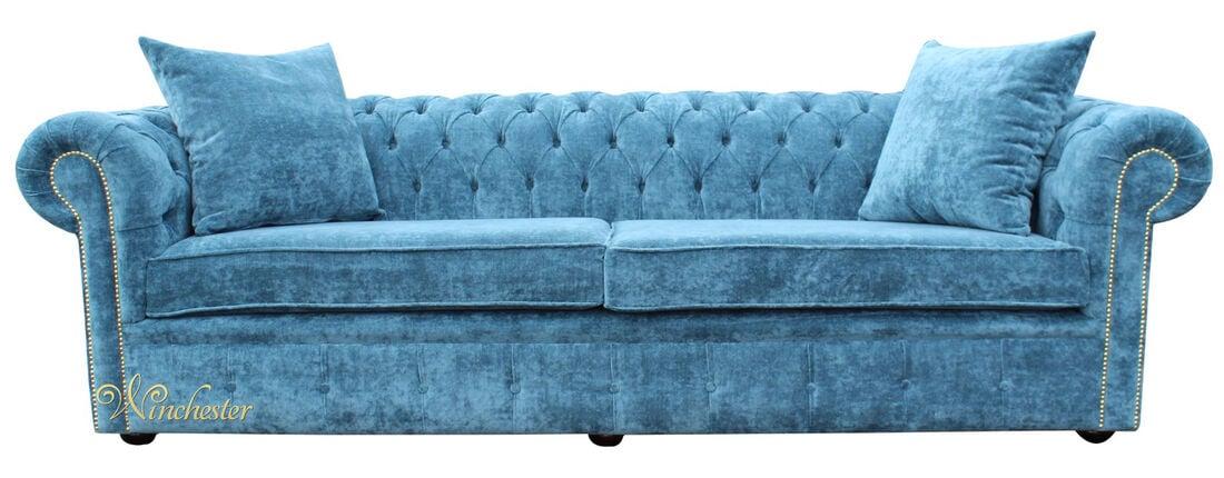 Chesterfield 4 seater settee elegance teal velvet fabric for Divano winchester