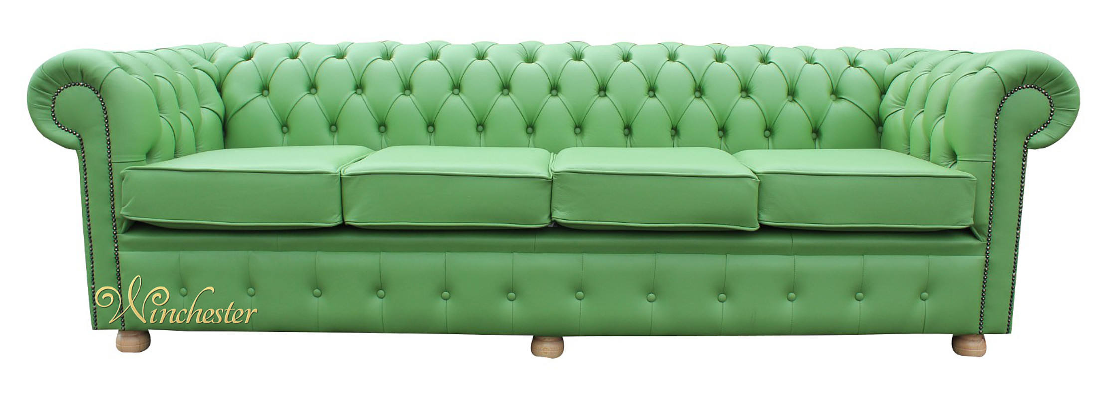 ... Chesterfield 4 Seater Sofa Settee Green Apple Leather