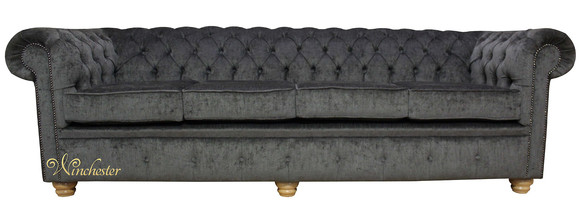 Chesterfield 4 Seater Settee Perla Dusk Velvet Fabric Sofa Offer