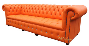 Chesterfield Swarovski CRYSTALLIZED™ Diamond 4 Seater Mandarin Orange Leather Sofa Offer