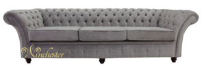 Chesterfield Balmoral 4 Seater Sofa Settee Azzuro Silver Velvet Fabric