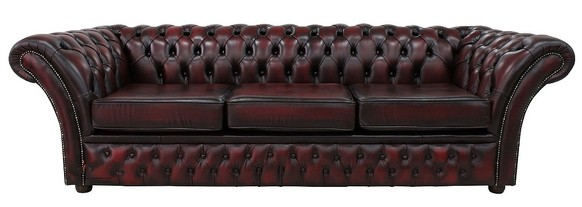 Chesterfield Balmoral 4 Seater Sofa Settee Antique Oxblood Leather DBB