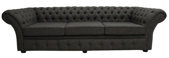 Chesterfield Balmoral 4 Seater Sofa Settee Harris Tweed Herringbone Peatland Wool