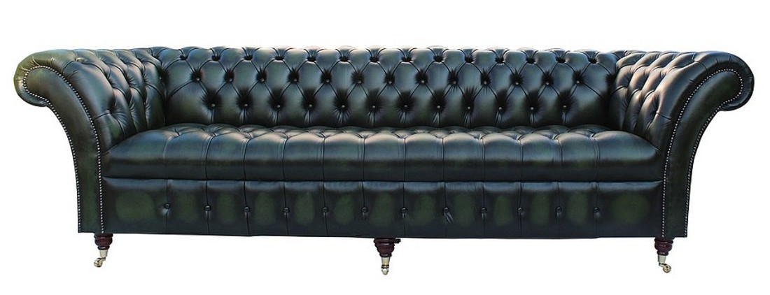 Chesterfield Blenheim 4 Seater Sofa Oned Seat Settee Antique Green Leather