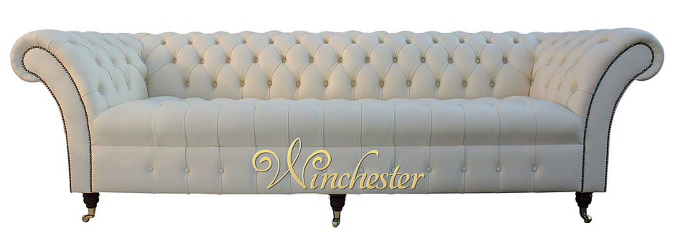 Incroyable Chesterfield Blenheim 4 Seater Sofa Buttoned Seat Settee Cream Leather Wc