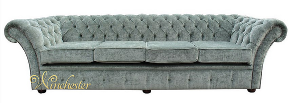 Chesterfield Cambridge 4 Seater Sofa Settee Velluto Lawn Fabric