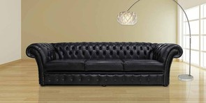 Chesterfield Chelsea 4 Seater Sofa Settee Old English Black Leather