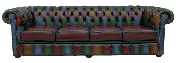Chesterfield Patchwork Antique 4 Seater Settee Leather Sofa Offer