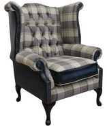 Chesterfield Queen Anne High Back Wing Chair Lewis Check Truffle Antique Blue Leather
