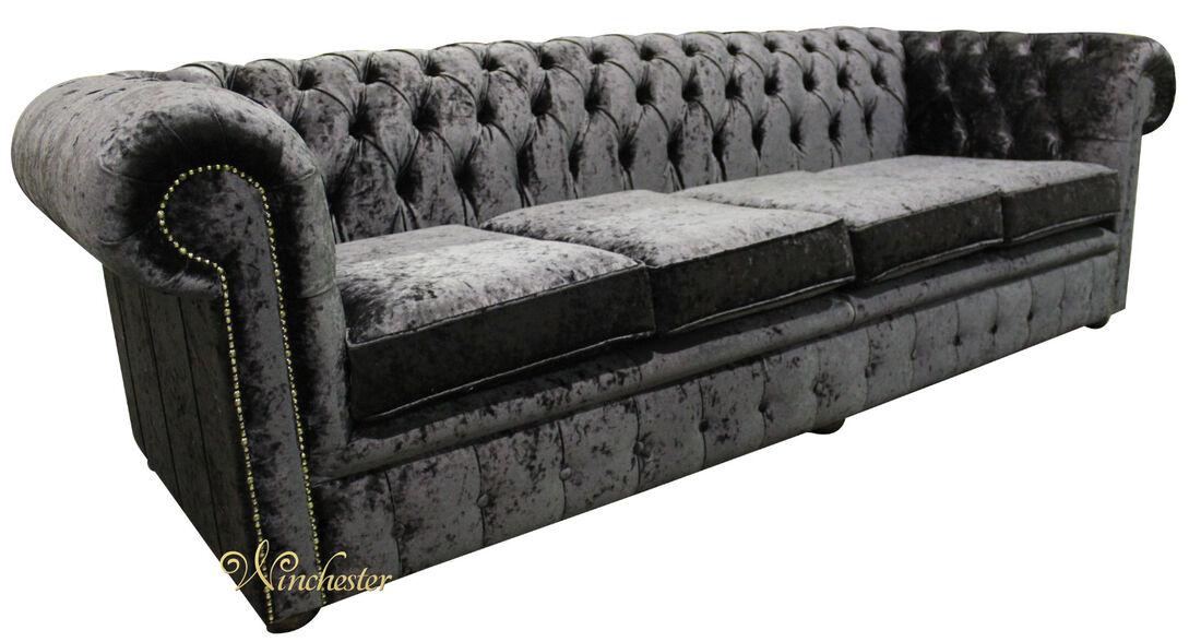 Chesterfield 4 Seater Settee Senso Black Ebony Velvet Fabric Sofa Offer