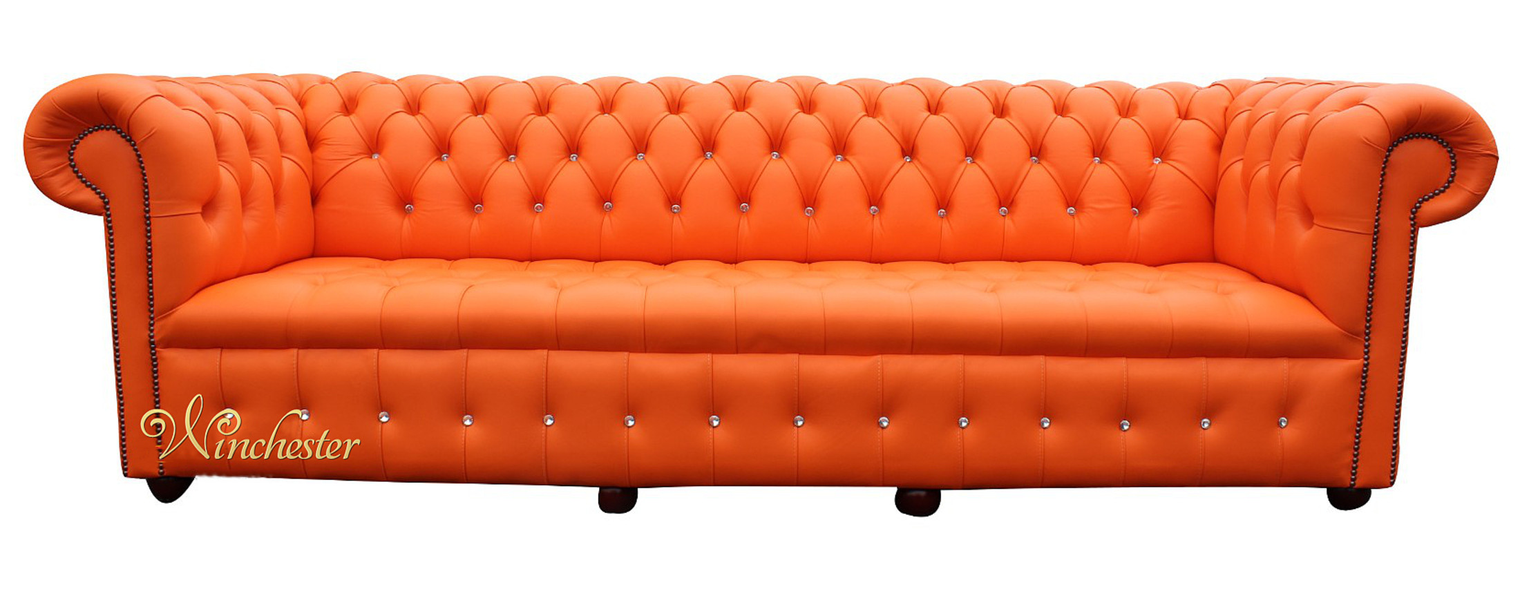 ... Chesterfield Swarovski Crystal 4 Seater Mandarin Orange Leather  ...