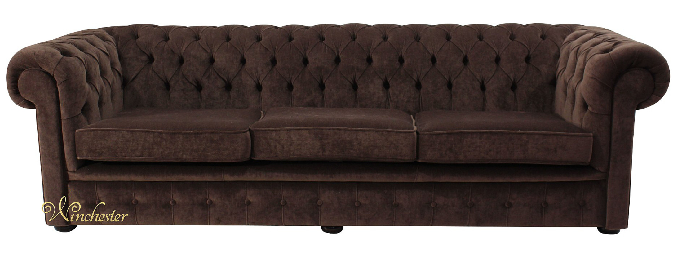 Chesterfield Thomas 4 Seater Sofa Settee Pimlico Chocolate Fabric Wc