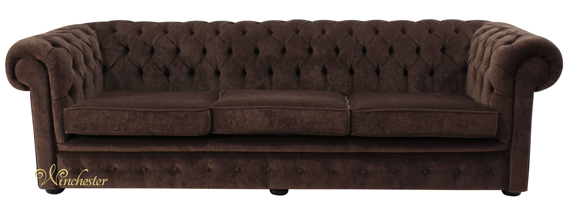 Chesterfield 4 Seater Settee Pimlico Chocolate Brown Fabric Sofa Offer