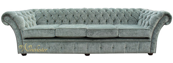 Chesterfield Drummond 4 Seater Sofa Settee Velluto Lawn Fabric