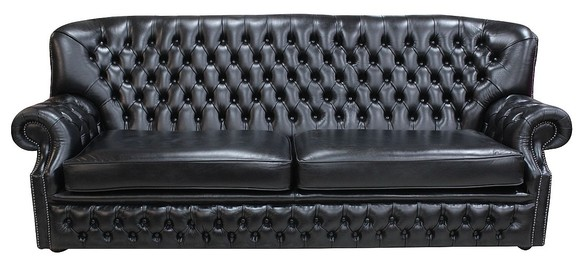 Monks Chesterfield 4 Seater Old English Black Leather Sofa Offer