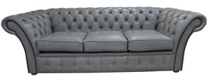 Chesterfield Balmoral 3 Seater Sofa Settee Stella Dove Grey Leather
