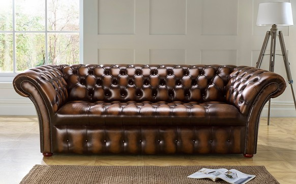 Chesterfield Balmoral Buttoned Leather Sofa 3 Seater Antique Autumn Tan