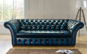 Chesterfield Balmoral Buttoned Leather Sofa 3 Seater Antique Blue