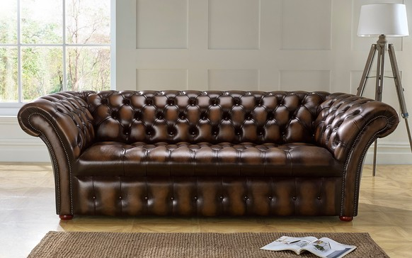 Chesterfield Balmoral Buttoned Leather Sofa Antique Brown