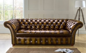 Chesterfield Balmoral Buttoned Leather Sofa 3 Seater Antique Gold
