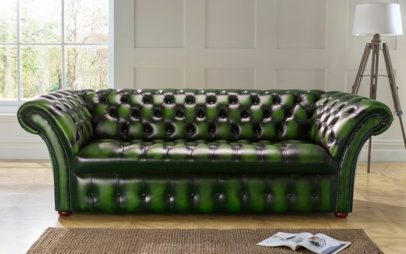 Chesterfield Balmoral Buttoned Leather Sofa Antique Green