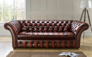 Chesterfield Balmoral Buttoned Leather Sofa Antique Light Rust