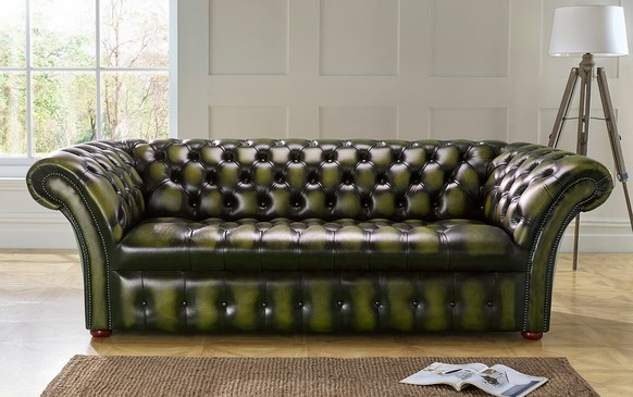 Chesterfield Balmoral Buttoned Leather Sofa 3 Seater Antique Olive