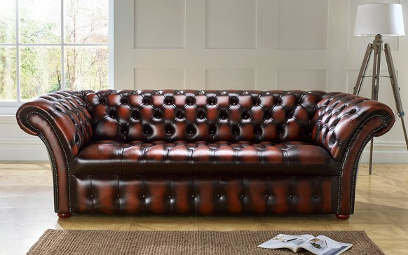 Chesterfield Balmoral Buttoned Leather Sofa Antique Rust