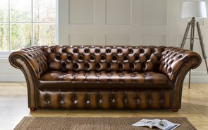 Chesterfield Balmoral Buttoned Leather Sofa Antique Tan