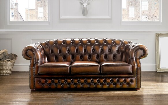 Chesterfield Buckingham Leather Sofa Antique Autumn Tan