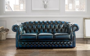 Chesterfield Buckingham Leather Sofa Antique Blue