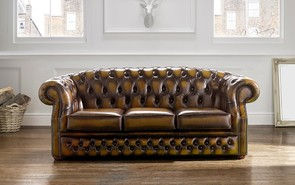 Chesterfield Buckingham Leather Sofa Antique Gold