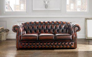 Chesterfield Buckingham Leather Sofa Antique Light Rust