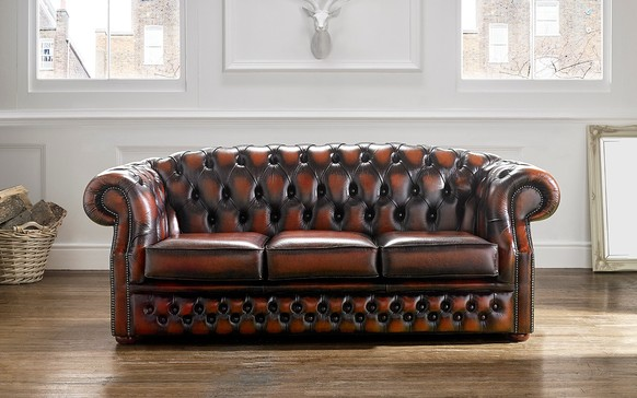 Chesterfield Buckingham Leather Sofa Antique Rust