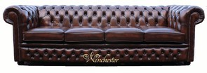 Chesterfield Winchester 4 Seater Settee Antique Brown Leather Sofa Offer