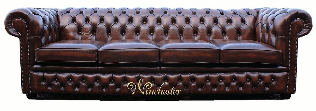 Chesterfield Winchester 4 Seater Settee Antique Brown