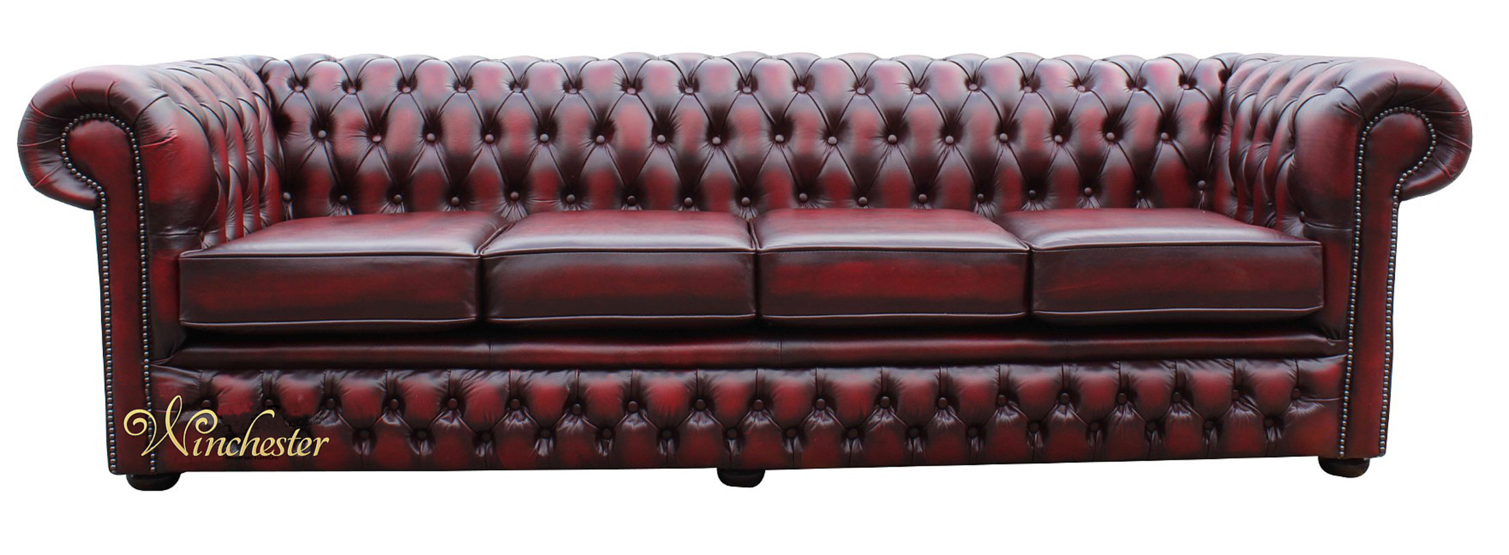 Chesterfield 4 Seater Sofa Settee Oxblood Leather Wc