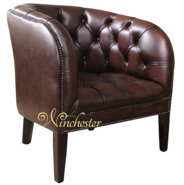 Chesterfield Burghley Low Back Tub Chair UK Manufactured Antique Brown Leather