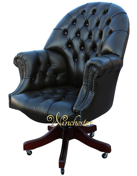 Chesterfield Directors Leather Office Chair Antique Autumn Olive