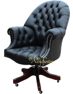 Chesterfield Directors Leather Office Chair Black Silver Studding