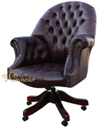 Chesterfield Directors Leather Office Chair Old English Red Brown